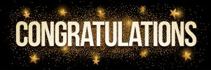 Congratulations banner with gold glitter. Vector illustration. Elements are layered separately in vector file.