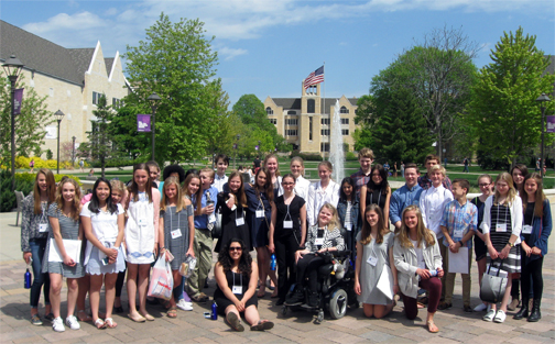 Forty-one Orono Middle School students, representing 10 projects, competed in the World Savvy Regional Festival.