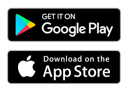 Google Play and Apple app store logos