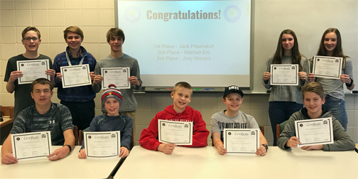 Top 10 finalists in the Orono Middle School Geographic Bee school championship