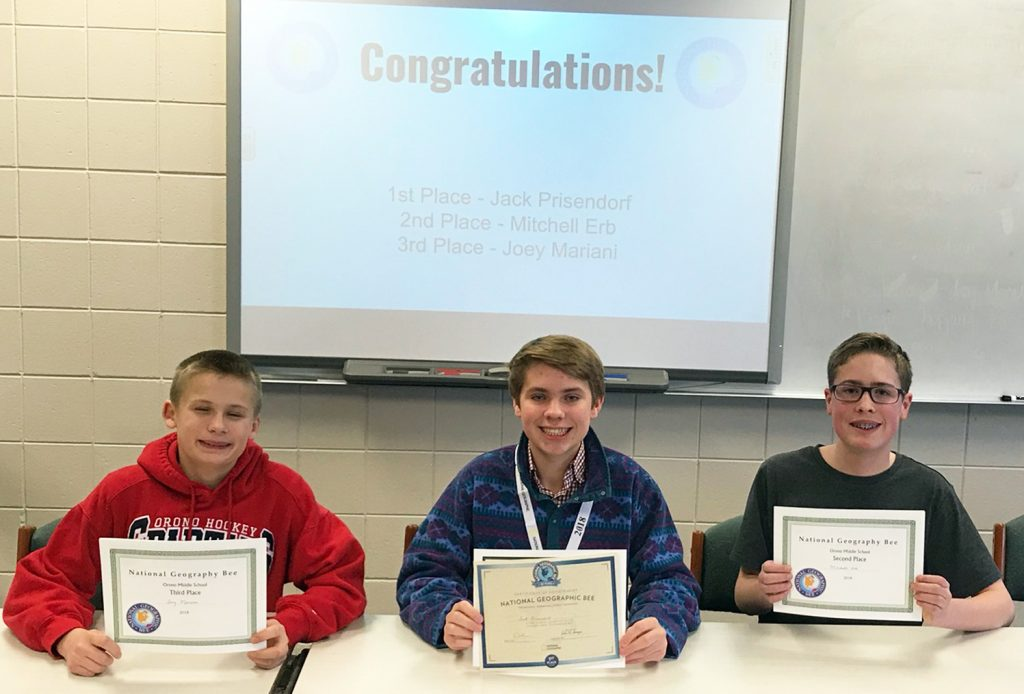 Orono Middle School Geographic Bee champion, second-place winner and third place winner.