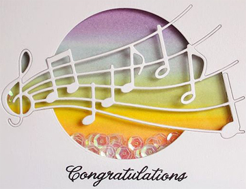 Congratulations with musical notes