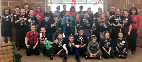OIS fifth-graders participating in Math Masters regional competition.