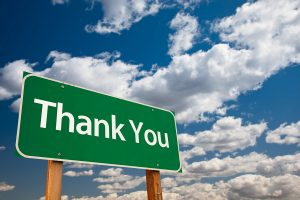 Road sign with thank you