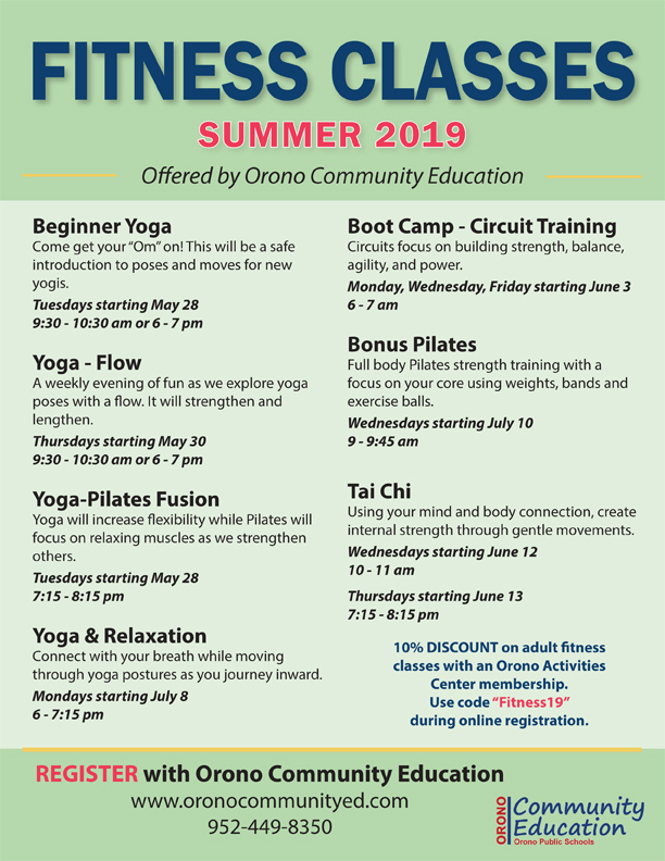 Listing of summer fitness classes